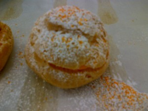 Icing sugar with a smidgen of orange dust