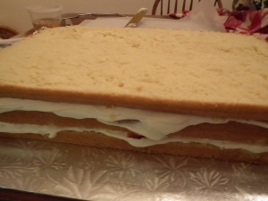Adding 3rd layer of cake