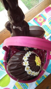 Treats safely tucked into thier Easter Basket