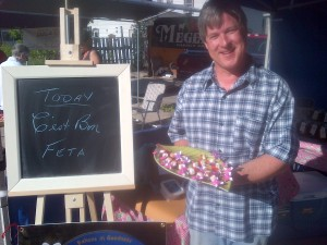 Hubby with samples of Feta